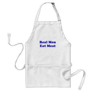 Los hombres reales comen la carne delantales