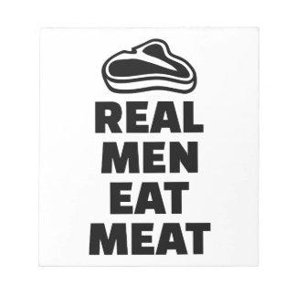 Los hombres reales comen la carne libreta para notas