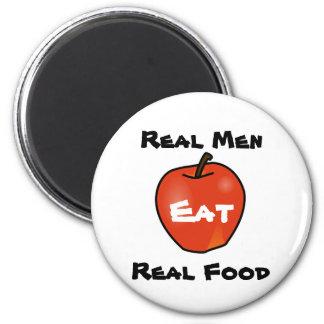Los hombres reales comen la comida real imán redondo 5 cm