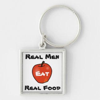 Los hombres reales comen la comida real llavero cuadrado plateado