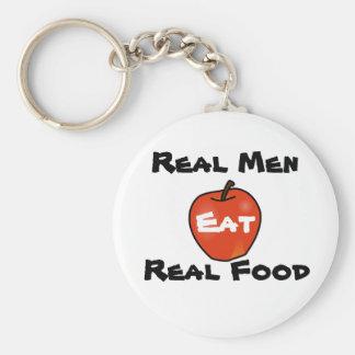 Los hombres reales comen la comida real llavero redondo tipo pin
