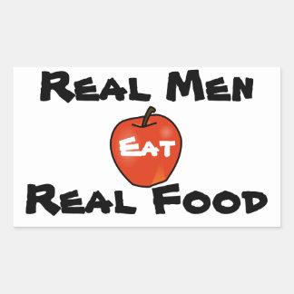 Los hombres reales comen la comida real pegatina rectangular