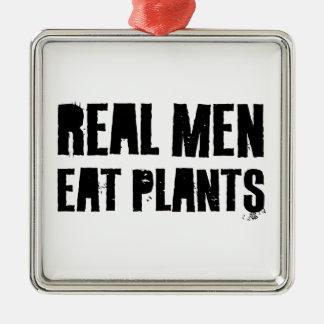 Los hombres reales comen las plantas adornos de navidad