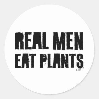 Los hombres reales comen las plantas etiqueta redonda