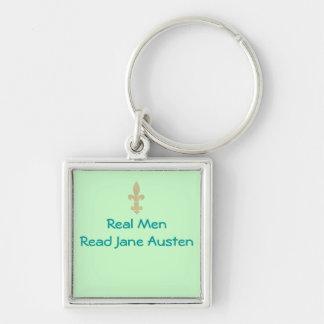 Los hombres reales… leyeron a Jane Austen Llavero Cuadrado Plateado