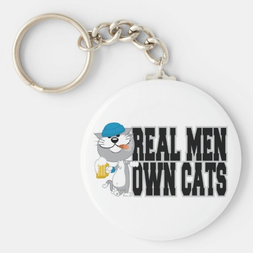 Los hombres reales poseen gatos llavero redondo tipo pin