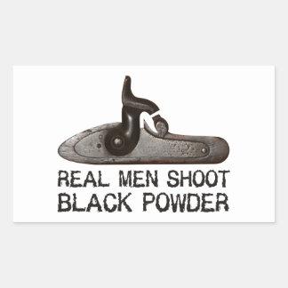 Los hombres reales tiran el polvo negro, rifle del pegatina rectangular