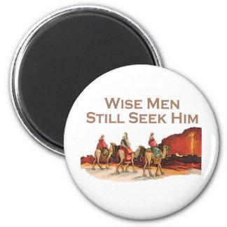 Los hombres sabios todavía lo buscan, navidad imán redondo 5 cm