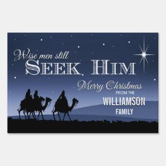 Los hombres sabios todavía lo buscan navidad letreros