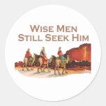 Los hombres sabios todavía lo buscan, navidad etiquetas redondas