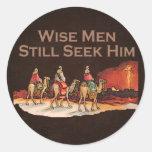 Los hombres sabios todavía lo buscan, navidad pegatinas redondas