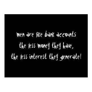 Los hombres son como cuentas bancarias tarjetas postales