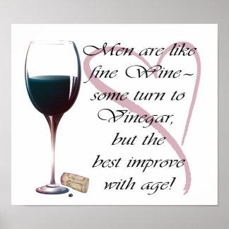 Los hombres son como el poster chistoso del vino