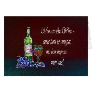 ¡Los hombres son como el vino Regalos chistosos d Tarjetón