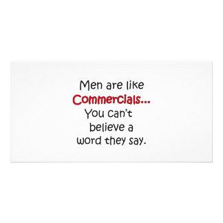Los hombres son como los anuncios publicitarios tarjetas personales con fotos