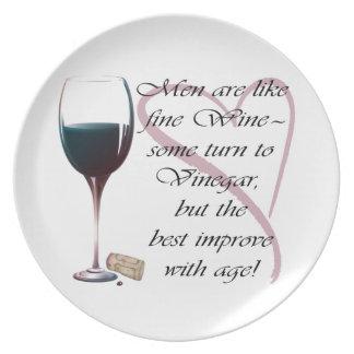 Los hombres son como los regalos del vino fino platos para fiestas