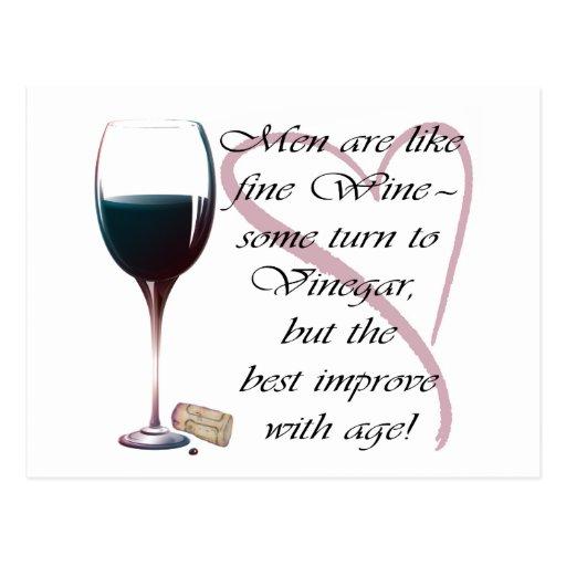 Los hombres son como los regalos del vino fino tarjeta postal