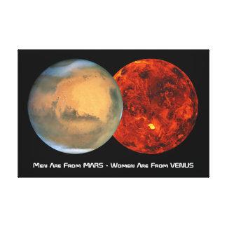 Los hombres son de Marte - las mujeres son de Venu Impresión En Lona Estirada