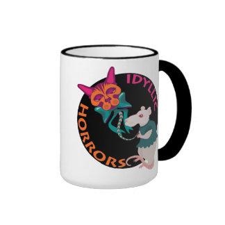 Los horrores idílicos gato y el arte divertido del taza de dos colores