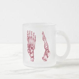 Los huesos del pie humano taza cristal mate