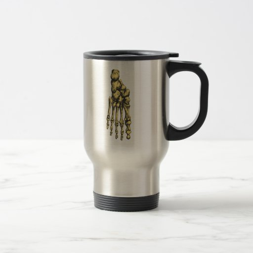 Los huesos del pie humano taza de café