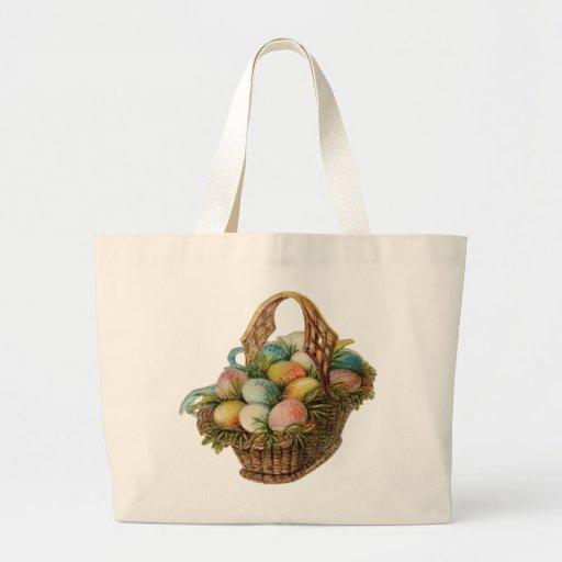 Los huevos de Pascua coloridos llenan una cesta de Bolsa Tela Grande