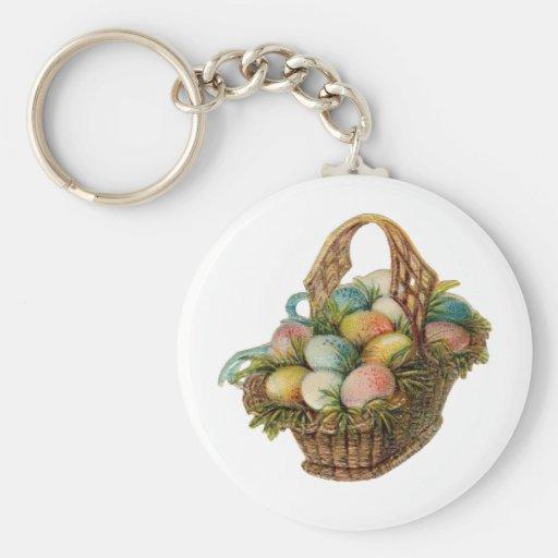 Los huevos de Pascua coloridos llenan una cesta de Llavero Redondo Tipo Pin