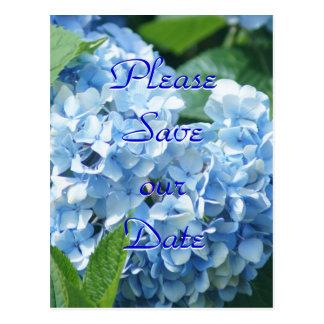 Los Hydrangeas azules ahorran nuestro personalizar Tarjetas Postales