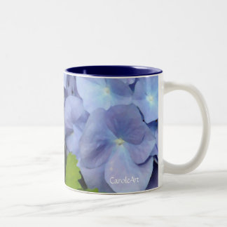 Los Hydrangeas azules más azules Taza Dos Tonos