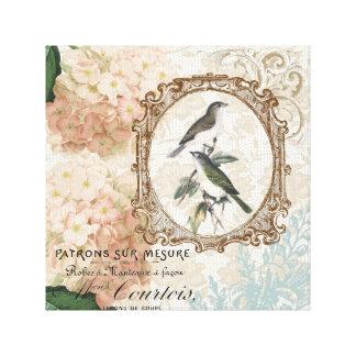 Los Hydrangeas franceses de los pájaros del vintag Lienzo Envuelto Para Galerías