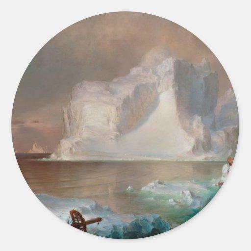 Los icebergs por la iglesia 1861 de Federico Edwin Pegatinas Redondas