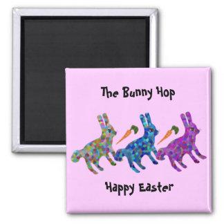 Los imanes de Pascua del salto del conejito Imán Cuadrado