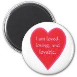 Los imanes del corazón, soy amado, amando, y adora iman de frigorífico