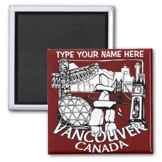 Los imanes del refrigerador de Vancouver Imán Cuadrado