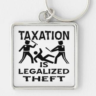 Los impuestos son hurto legalizado llavero cuadrado plateado