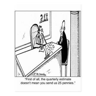 Los impuestos trimestrales no significan 25¢ tarjeta postal