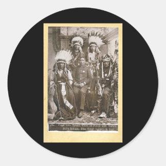 Los indios 1890 de Buffalo Bill Pegatina Redonda