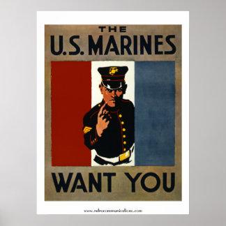 Los infantes de marina de los E.E.U.U. le quieren Póster