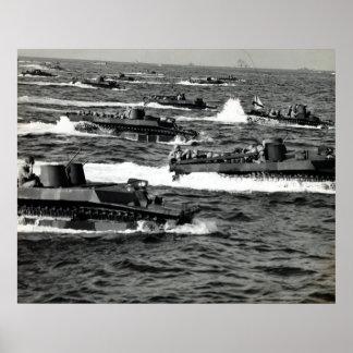 Los infantes de marina de WWII LOS E.E.U.U. invade Póster