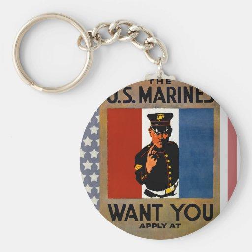 Los infantes de marina le quieren llavero redondo tipo pin