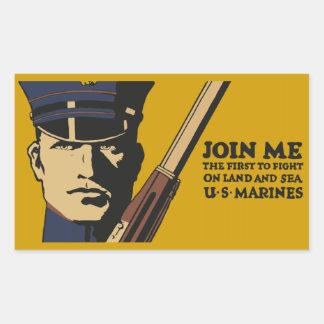Los infantes de marina retros de los E.E.U.U., se Pegatina Rectangular