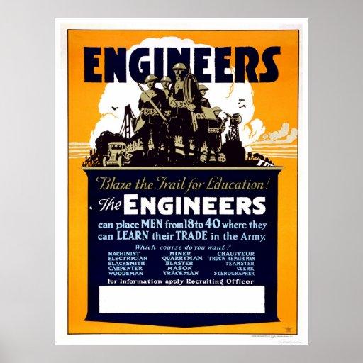¡Los ingenieros se arden el rastro para la educaci Poster