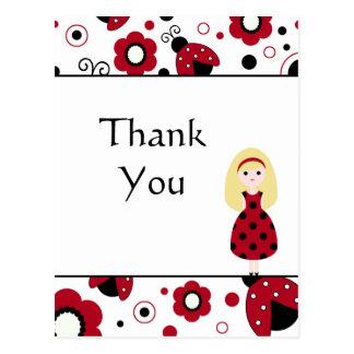 Los insectos negros rojos lindos de la señora le a tarjeta postal