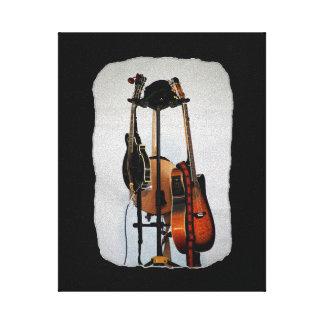 Los instrumentos musicales de la guitarra estiraro impresión en lona