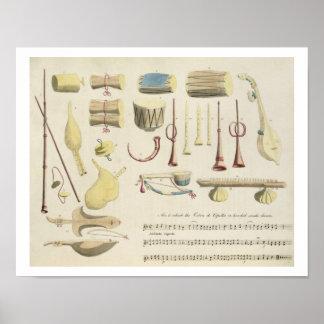 Los instrumentos musicales indios, platean 23 de ' póster