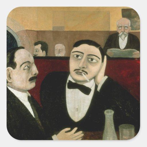 Los intelectuales en el café Rotonde, 1916 Pegatina Cuadrada