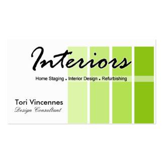 Los interiores se dirigen negocio del diseñador de tarjetas de visita