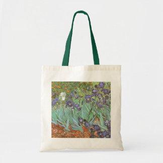 Los iris de Vincent van Gogh, vintage florecen Bolsa Tela Barata
