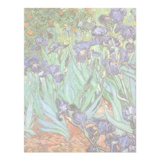 Los iris de Vincent van Gogh, vintage florecen Membrete A Diseño