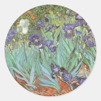Los iris de Vincent van Gogh, vintage florecen Pegatina Redonda